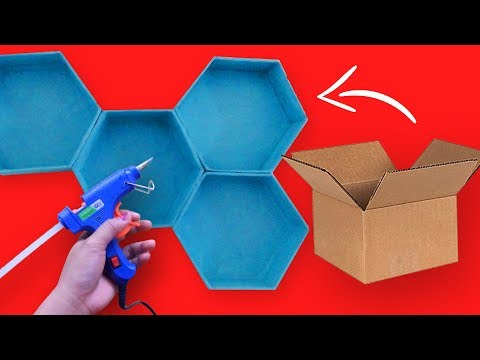 HEXAGON WALL SHELF: DIY WALL DECOR IDEAS, CARDBOARD BOX CRAFT FOR DIY ROOM DECOR, HOME DECOR IDEA
