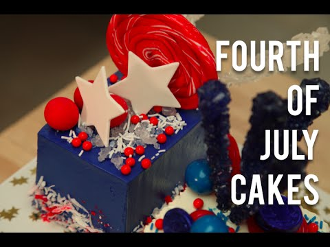 How To Make FOURTH OF JULY CAKES! Red, white, and blue vanilla cakes with buttercream and candy!