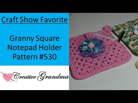 Craft Show Favorite Granny Square Notepad Holder Pattern #530 -  Crochet Tutorial