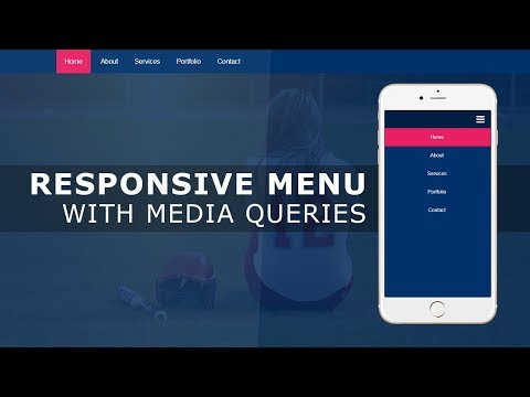 Responsive Navigation Bar with HTML , CSS and Javascript - Responsive Menu Bar Tutorial