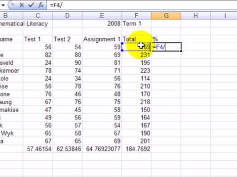 M17(8) How to calculate percentages using an excel spreadsheet