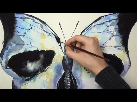 [Watercolor] Skull X Butterfly