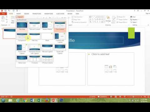 Microsoft PowerPoint 2013 How To Change The Layout Of Your Slides