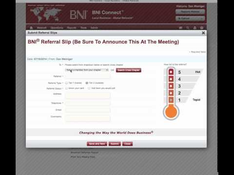 How to use BNI connect to report closed business, 1 to 1's, and pass referrals.