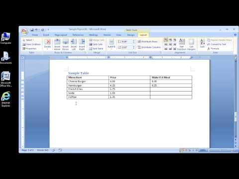 Microsoft Word 2007 Inserting rows and columns in a table