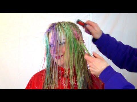Hair transformation - rainbow colors with hair chalk