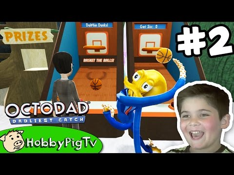 Octodad PART 2 Goes Grocery Shopping! Then Aquarium Carnival Fun HobbyPigTV