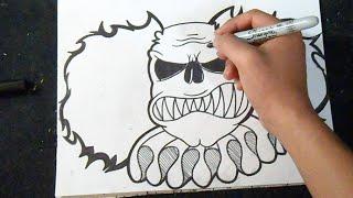 Cómo dibujar un Payaso Graffiti (Diseño Fácil 2)