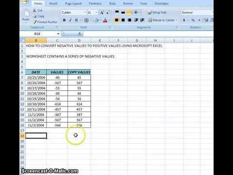 00011 - How To Convert Negative Values To Positive Values Using Microsoft Excel