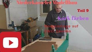 Modellbahn Modulanlage 2 Ebenen Teil 9 HD Kork Färben, Boden erstellen Modellbau Niederkassel Spur N