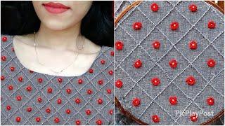 മടി ഉള്ളവര്ക്ക് ചെയ്യാന് പറ്റിയ design|easy Hand Embroidery neck design|passion in fashion