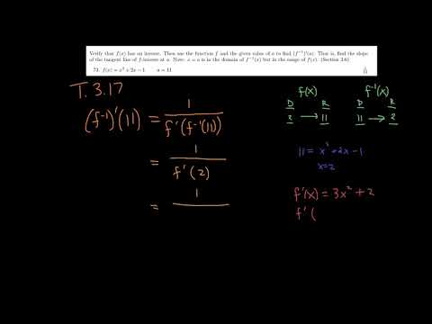How to Find the Derivative of an Inverse Function Using Theorem 3.17