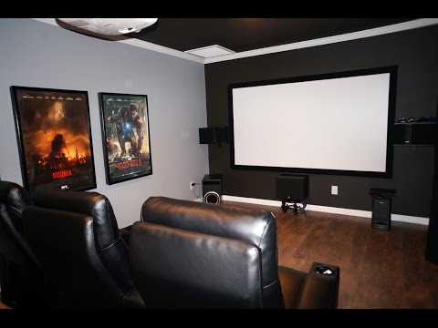 DIY Home Theater Movie room with Epson 3020 Projector, Klipsch 525 THX speakers