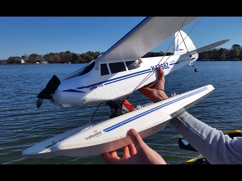 RC Supercub Seaplane with GoPro Flying on the Lake