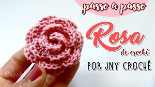 flor de crochê passo a passo | Rosa - JNY Crochê