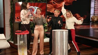 Brie Larson & Scarlett Johansson Cheer on an 'Avengers' Fan During 'Hot Hands'