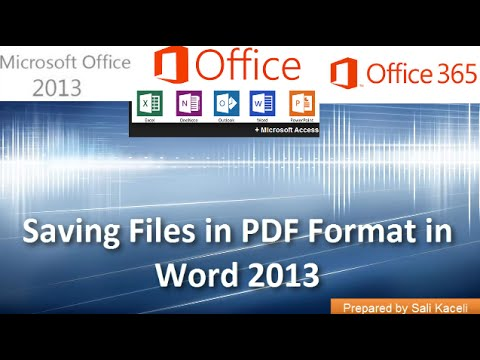 21. Emailing and Creating a PDF File from Word 2013