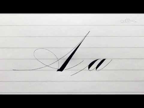 The Letter A in an 'Italian' Style Accented Engrosser's / Roundhand Pointed Pen Calligraphy Script