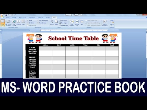 Exercise 06 | Ms Word Practice Book | How To Make School Time Table Ms Word