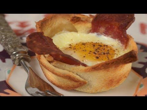 Bacon & Egg Toast Cups Recipe Demonstration - Joyofbaking.com