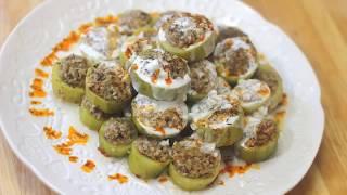محشي الكوسا بالبرغل على الطريقة التركية (كاتكلي دولمة)  Bulgur Stuffed Pumpkin