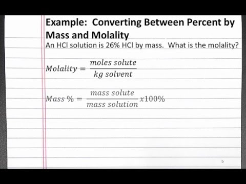 CHEMISTRY 201:  Solutions - Converting Between Percent by Mass and Molality