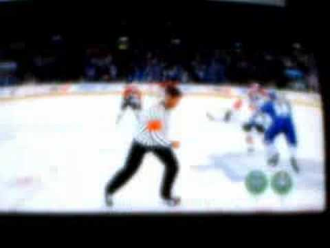 NHL 08 - Hal Gill scoring a SH goal from own blue line