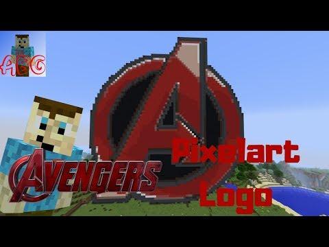 Avengers Symbol   Minecraft Pixel Art Time Lapse