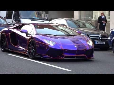 Supercars in London 2 - PURPLE TRON Aventador, Veyron Super Sport, Aston Martin One-77, Ferrari's