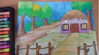 How To Draw And Color An Easy Scenery For Kids Kharasach Latest