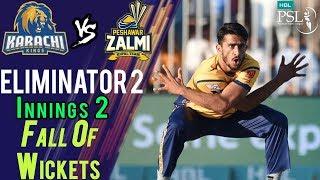 Karachi Kings Fall Of Wickets |Karachi Kings Vs Peshawar Zalmi| Eliminator 2|21 March | HBL PSL 2018