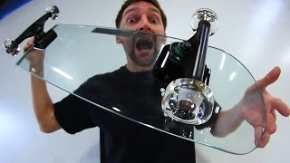 KICKFLIPPING A GLASS SKATEBOARD WITH GLASS WHEELS?!   YOU MAKE IT WE SKATE IT EP 72