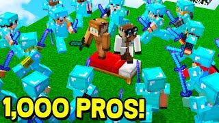2 NOOBS VS 1,000 PROS! (MINECRAFT BEDWARS TROLLING)