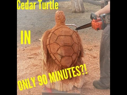 Cedar Chainsaw Carved 90 Minute Sea Turtle FAST