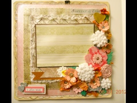 I love you  another Scrapbook Layout using quill flowers
