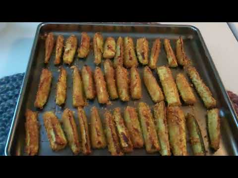 Zucchini sticks baked in the toaster oven
