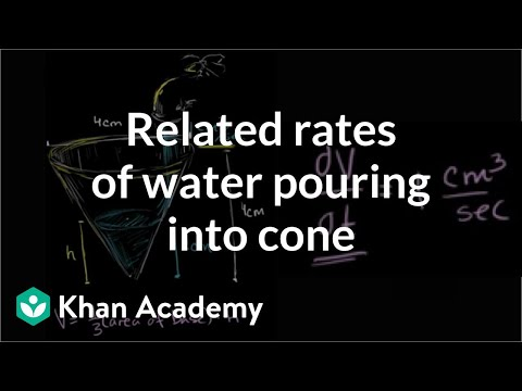 Related rates: water pouring into a cone | AP Calculus AB | Khan Academy