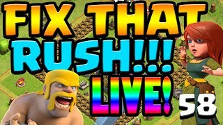 FREE GEMS w/ Dragons FIX that RUSH ep58 Live Stream   Clash of Clans
