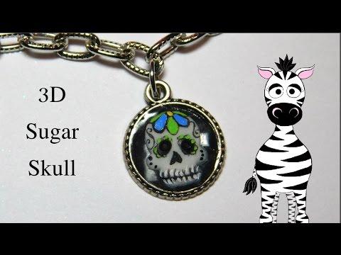 3D Sugar Skull Charm Acrylic Nail Art Tutorial
