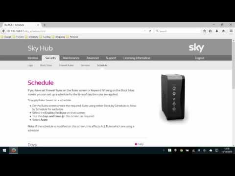 Schedule Network/Internet Access with Sky Router SR102 (2015)