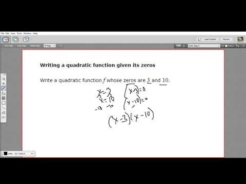 Writing a quadratic function given its zeros