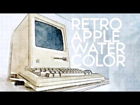 Retro Apple Watercolor with Waterlogue