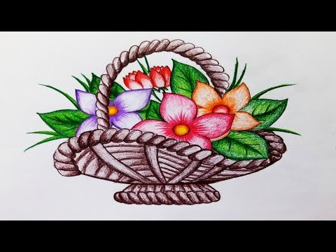 How to draw flower basket.Step by step(easy draw)