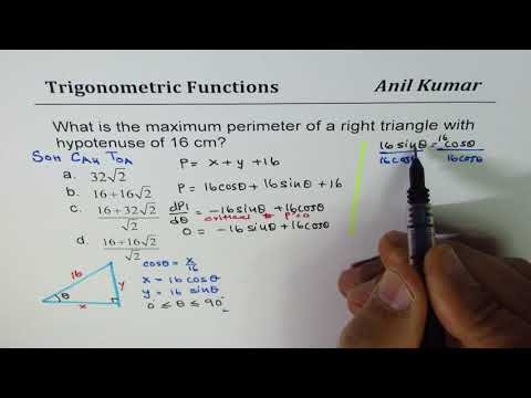 Find Maximum Perimeter for Right triangle with 16 hypotenuse Trig Optimization Application