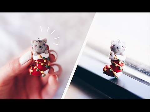 CRAFTMAS 2016 🎄 CAT IN CHRISTMAS STOCKING 🎁 DIY POLYMER CLAY CHARM TUTORIAL