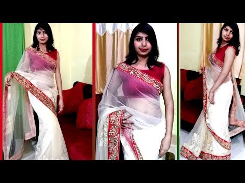 How To Make Designer Saree At Home | Designer Net Saree In Hindi Less 300 |  2017