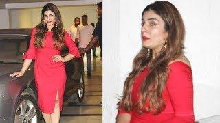 Raveena Tandon Stuns In Red Dress At Karan Johar Birthday Party 2017