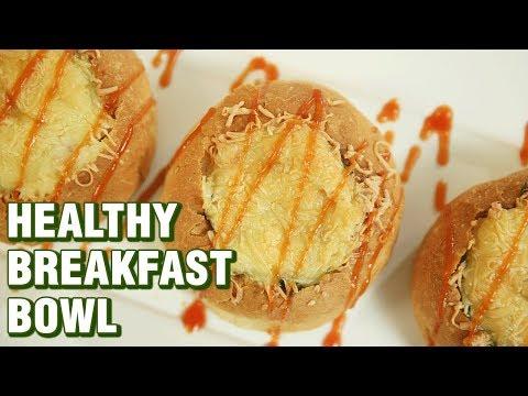 Healthy Breakfast Bowl Recipe - Vegetable Stuffed Cheesy Buns Recipe - Neha Naik