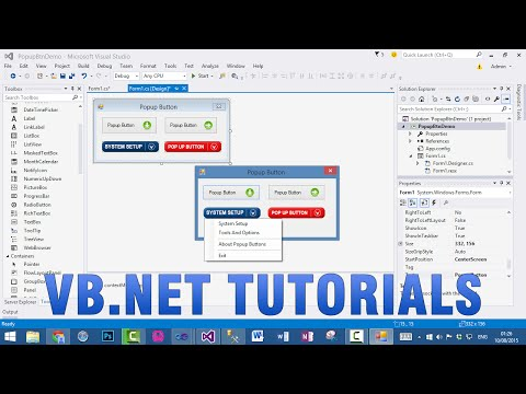 VB.NET Tutorials - How to create Popup Button In WinForms application