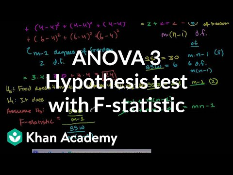 ANOVA 3: Hypothesis test with F-statistic | Probability and Statistics | Khan Academy
